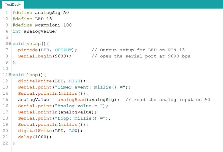 Figura 2. il codice per eseguire la serie di operazioni richieste una volta al secondo