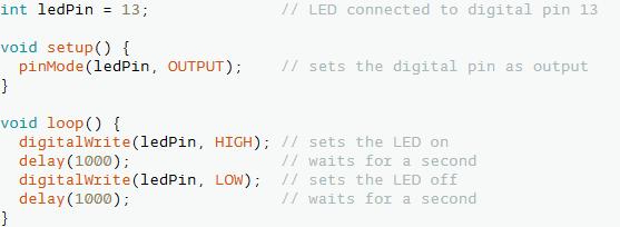 Figura 1. l'utilizzo del delay() per far lampeggiare un LED
